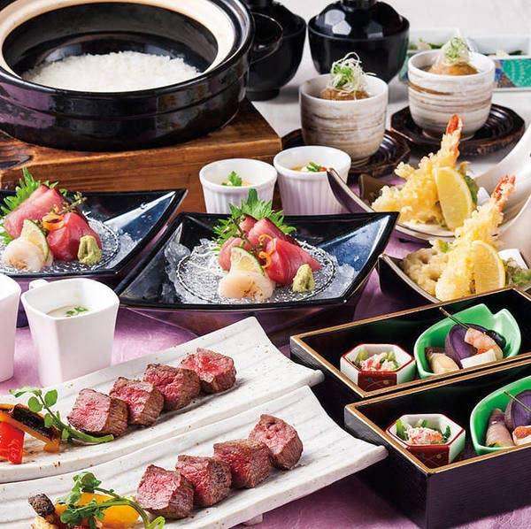 <華ーHANAー>旬のお造りと牛炭火焼ステーキを楽しむプラン お料理のみ4,500円(税込)全7品