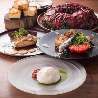 【1番人気】FARMコース 5980円 名物世界一トマト;メイン肉料理など:120分飲み放題付き